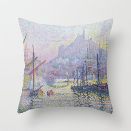 View of the Port of Marseilles Throw Pillow