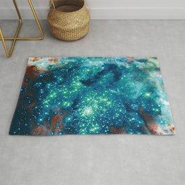 Teal Brown Glitter Sparkle Stars Rug