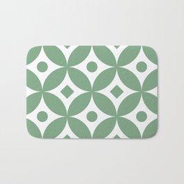 Sage green traditional Japanese circles pattern Bath Mat