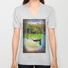 Dilapidated wharf on a tranquil river Unisex V-Neck