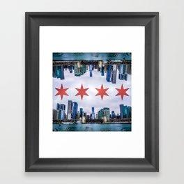 Chicago Skyline Flag Framed Art Print