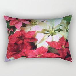 Mixed color Poinsettias 1 Vivid Oil Rectangular Pillow