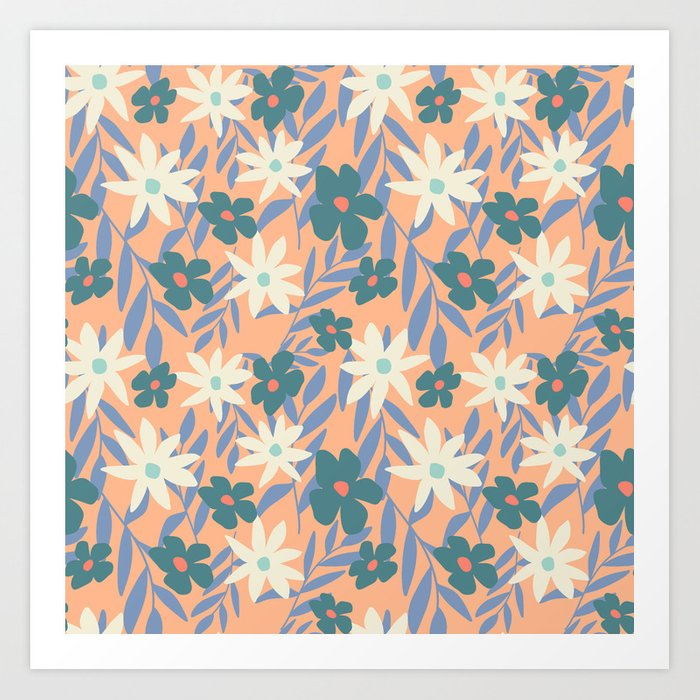 Just Peachy Floral Art Print