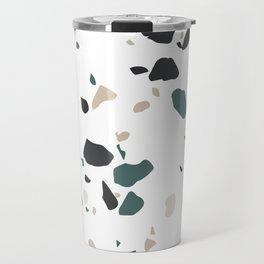 Terrazzo White Green Khaki Black Travel Mug