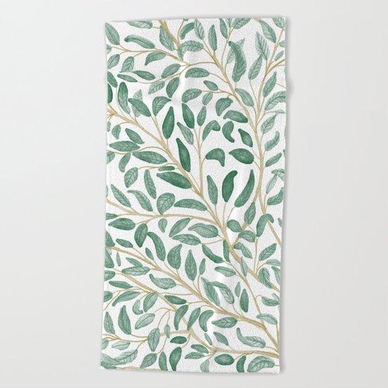 Green Leaf Pattern Beach Towel