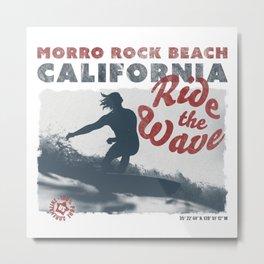 Ride the Wave - California - Morro Rock Beach - Surfing Metal Print