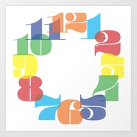 wall clock Art Prints featuring Wall Clock - Colourful Numbers by Whistle&Hum