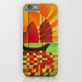 Junk on Sea of Green Cubist Abstract  iPhone Case