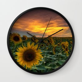 Young Girl And Sunflower Wall Clock