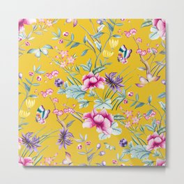 Yellow Chinoiserie Asian Floral Print Metal Print