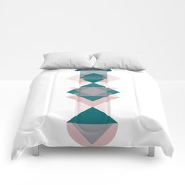 Nr. 1 Geometric Totem Pole Blush Pink and Green Comforters