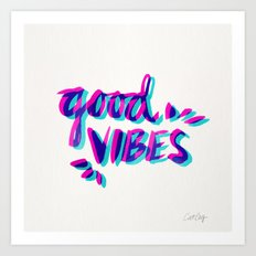 Good Vibes – Magenta & Cyan Art Print