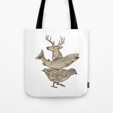 Deer Trout Quail Drawing Tote Bag