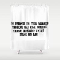 oscar wilde Shower Curtains featuring Oscar Wilde Quote by Rachel Weissman