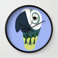parrot Wall Clocks featuring Parrot  by Jessica Slater Design & Illustration