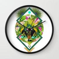 kris tate Wall Clocks featuring ▲ TROPICANA ▲ by KRIS TATE x BOHEMIAN BLAST by ▲ BOHEMIAN BLAST ▲
