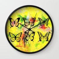 butterflies Wall Clocks featuring Butterflies by ShaMiLa