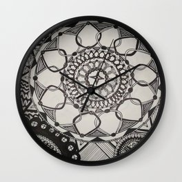 Black and White Medallions Wall Clock