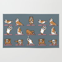 english bulldog Area & Throw Rugs featuring English Bulldog Yoga by Huebucket