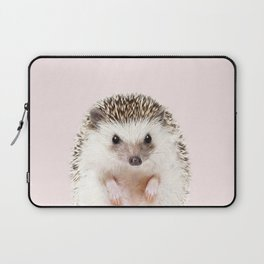 Baby Hedgehog With Pink Background, Baby Animals Art Print By Synplus Laptop Sleeve