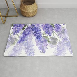 Purple Wisteria Flowers Rug