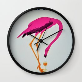 Vintage Carpano Pink Flamingo Motif Vermouth Advertisement Poster Wall Clock
