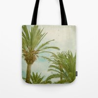 palm trees Tote Bags featuring Palm Trees by Cassia Beck