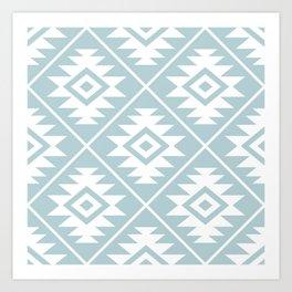 Aztec Symbol Ptn White on Duck Egg Blue Art Print