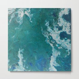 A View From Space, abstract acrylic fluid painting Metal Print