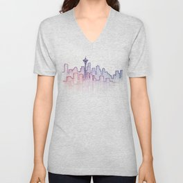 Seattle Skyline Watercolor Unisex V-Neck