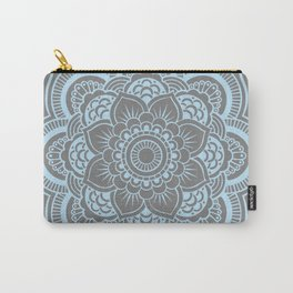 Mandala Flower Gray & Baby Blue Carry-All Pouch