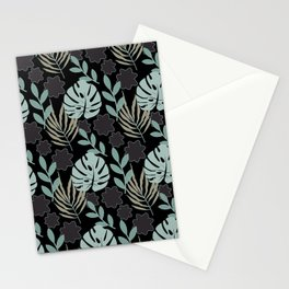 Monstera Leaves Tropical Black Onyx Sand Teal Stationery Cards