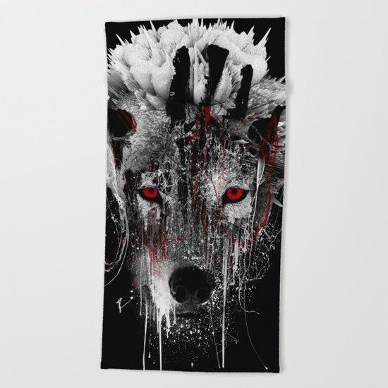 WOLF - RED EYE Beach Towel