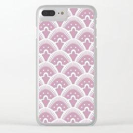Fan Pattern 431 Dusty Rose Clear iPhone Case