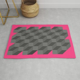 Original Modern Geometric Op Art Canvas Painting Rug