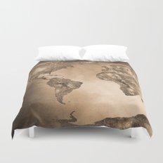 Stars world map. Sepia Duvet Cover