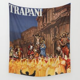 Italian travel ad Christian Easter procession Trapani Wall Tapestry