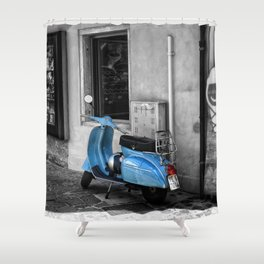 Blue Vespa in Venice Black and White Color Splash Photography Shower Curtain