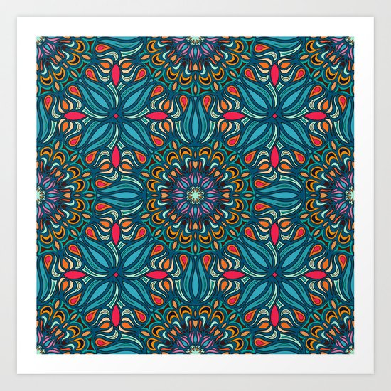 Colorful abstract ethnic floral mandala pattern design Art Print