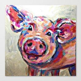 Happy Pig Art Canvas Print