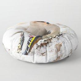 Bohemian waxwing Floor Pillow