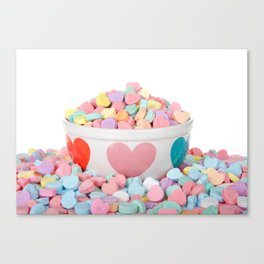 Bowl of Valentine's Day Candy Hearts Canvas Print