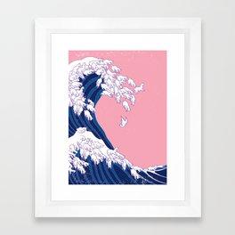Llama Waves in Pink Framed Art Print