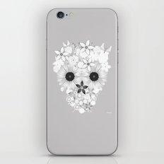 Skull Flowers white - grey iPhone & iPod Skin