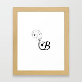 black and white B letter with design Framed Art Print
