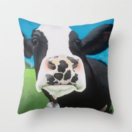 Flossie the Freckled Cow Throw Pillow