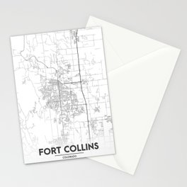 Minimal City Maps - Map Of Fort Collins, Colorado, United States Stationery Cards