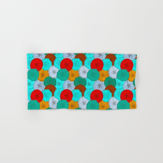 Bright Flowers, pattern in red, teal, green, violet, and gold Hand & Bath Towel