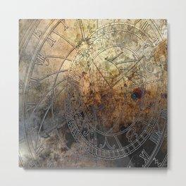 Ancient Astrology Clock Metal Print