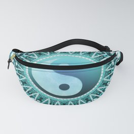 Tranquility Yin Yang Blue Aqua Mandala Fanny Pack